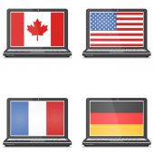 Set of notebooks with screensaver flag, America, Canada, Germany — Stock Vector