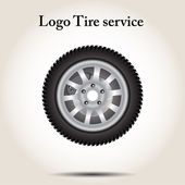 Car wheel on a gray background vector illustration — Stock Vector
