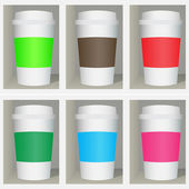 Set of color cups on a shelf vector — Stock Vector