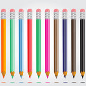 Set of colored pencils on a gray background vector — Stock Vector