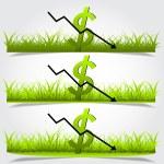 Graph, depreciation of the dollar, green grass vector — Stock Vector #64405177