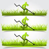 Graph, depreciation of the dollar, green grass vector — Stock Vector
