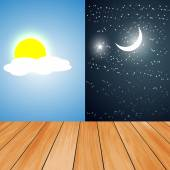 Vector illustration of day and night board — 图库矢量图片