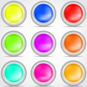 Set of colored buttons with shadow Vector illustration — Vecteur