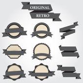 Retro-Etiketten set 9 teilig Vektor-illustration — Stockvektor