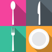 Four backgrounds with dining items in flat vector illustration — Stock Vector