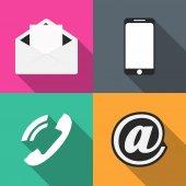 Legen Sie das Telefon, Umschlag, Email, für farbige Hintergründe Vektor — Stockvektor