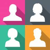 Silhouettes of men and women on different colored backgrounds vetor — Vetor de Stock