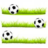Soccer ball on the grass in different variants vector illustration — Vetor de Stock