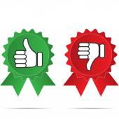 Thumbs up and thumbs down on different backgrounds vector illustration — Stock Vector