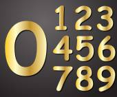 Digits gold in color from 0 to 9 on a gray background vector — Stock Vector