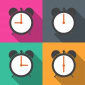 Set alarm clocks with different time from morning till dinner vector — Stock Vector