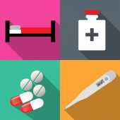 Icons on medicine in a flat vector — Vetor de Stock