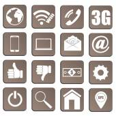 Set of 16 pieces of plane icons relating to technology vector — Stockvektor