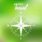 Travel Compass symbol on a green background vector — Stock Vector