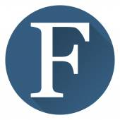 The letter F in a flat on a round blue background vector — Stok Vektör