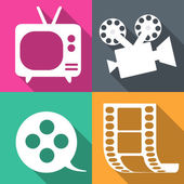 Movie icons in four backgrounds vector illustration — Stock Vector