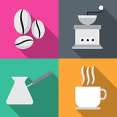 Coffee icons in sequence cooking vector illustration — Stock Vector