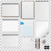 A set of stationery paper, notepads vector illustration — Stock Vector