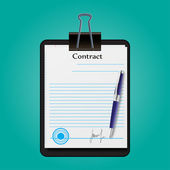 The contract document signed and sealed vector illustration — Stock Vector