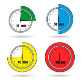 Clock icons stopwatch time from 15 minutes to 60 minutes vector — Stock Vector