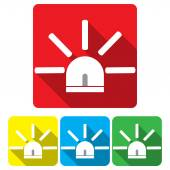 Set the siren in a flat on different backgrounds vector — Stock Vector