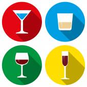 Set alcohol glasses icons flat design vector — Stockvector