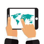 The tablet in the hands of a map of the earth — Stock Vector
