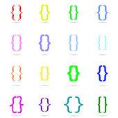 Set renkli süslü ayraç simgesi — Stok Vektör