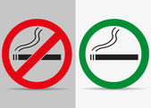 No and yes smoking labels — Stock Vector