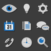 Business icons in a flat on black background — Stock Vector