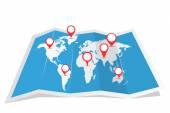Carte du monde avec l'ombre et pointeurs — Vecteur