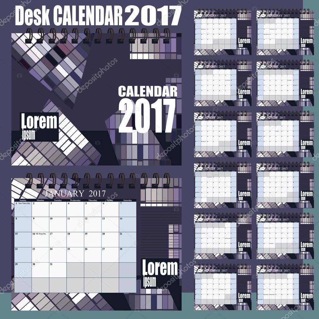 デスク カレンダー 2017年ベクター デザイン テンプレートです。12 月のセット。週開始