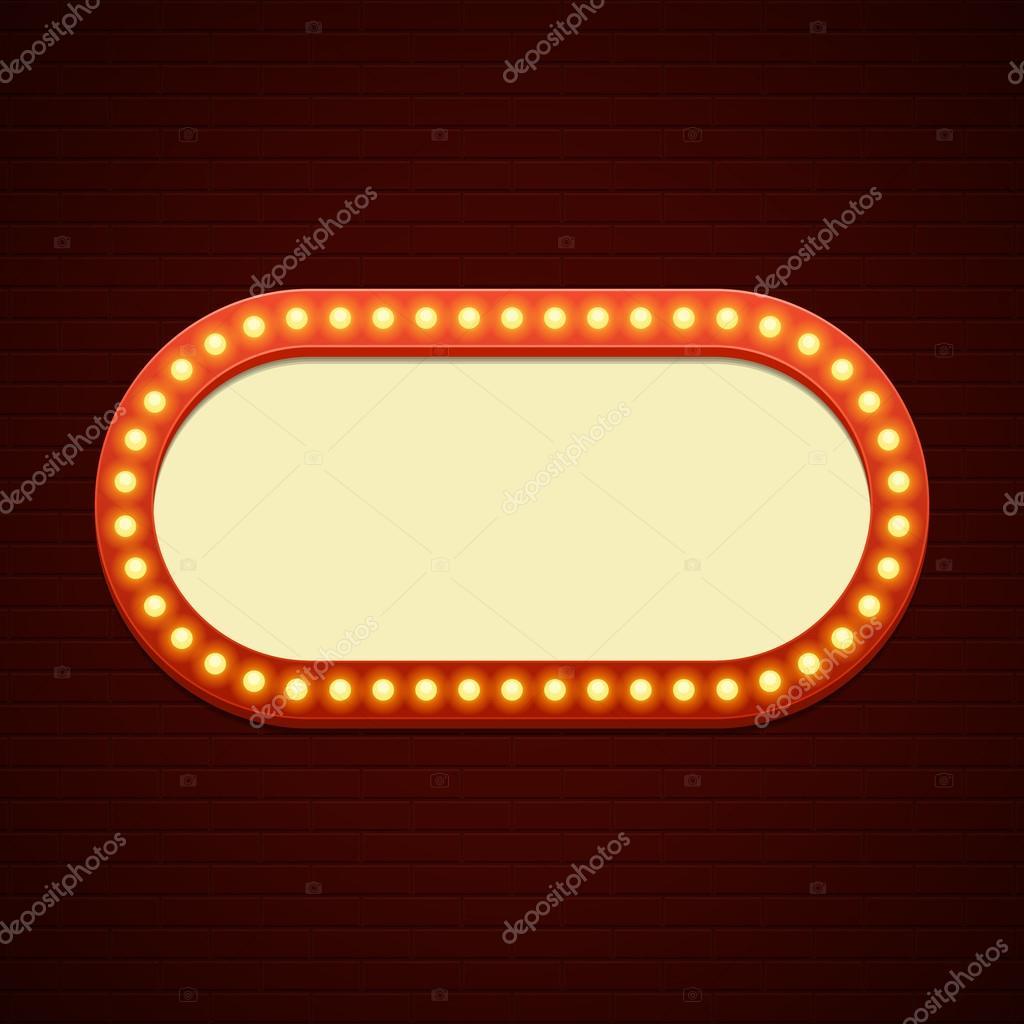 Retro showtime znamen design kino signage rovky r m a neonov lampy na cihlovou ze na - Showtime design ...