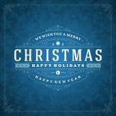 Christmas retro typography and light with snowflakes — Wektor stockowy