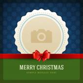 Christmas retro greeting card and place for photo — 图库矢量图片