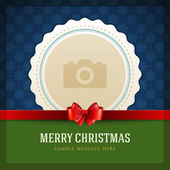 Christmas retro greeting card and place for photo — Cтоковый вектор