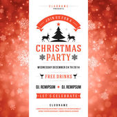Christmas party invitation retro typography vector illustation — Stockvektor