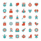 Christmas icons vector set. Christmas decorations objects and sy — Stock Photo