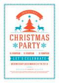 Christmas party invitation retro typography and ornament decorat — Stock Photo