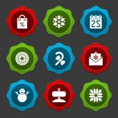 Christmas icons and labels vector set decorations objects — Stock Photo