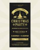 Christmas party invitation retro typography and ornament decoration — Stock Photo