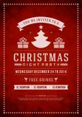 Christmas party invitation retro typography and ornament — Stockfoto