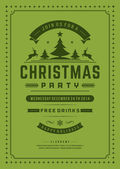 Christmas party invitation retro typography and ornament — Stok fotoğraf