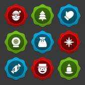 Christmas icons and labels — Stock Vector