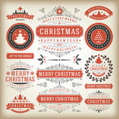 Christmas decoration vintage elements — Stock Vector
