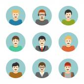 Man Characters Faces, — Stock Vector
