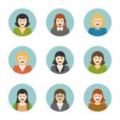 Woman Characters Faces — Stock Vector