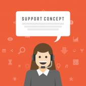 Businesswoman support service concept — Stock Vector