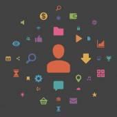 Elementos de diseño de medios sociales — Vector de stock